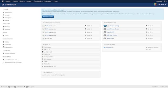 Here's the control panel hackers can access by exploiting a just-patched Joomla vulnerability.
