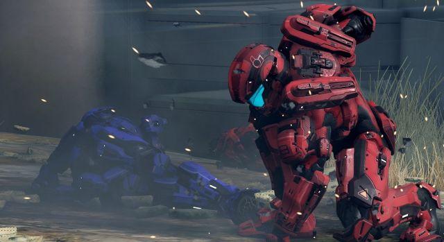 Live shot of a PC gamer kneeling in prayer for a <i>Halo 5</i> port.