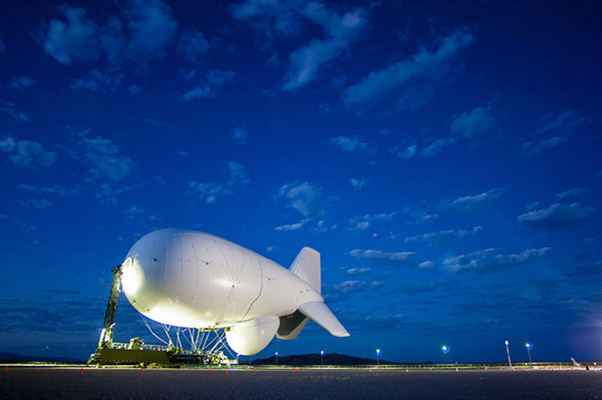 "One of the two JLENS aerostats on the ground at Aberdeen Proving Ground, Maryland. Two aerostats make up a JLENS ""orbit."""