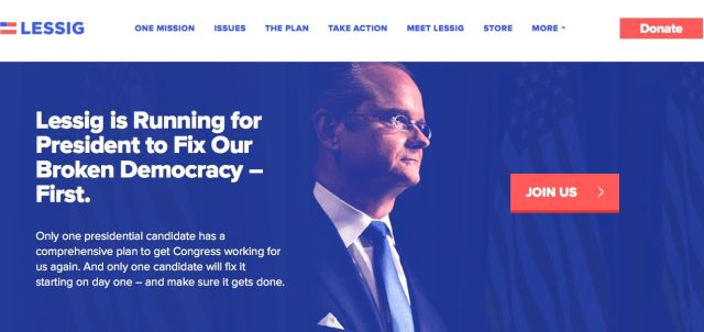 If Larry Lessig is elected president, and campaign reforms pass, he won't resign