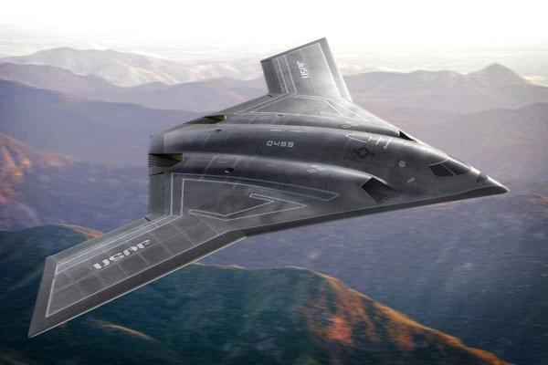 An artist's rendition of Northrop Grumman's proposed for the Long Range Strategic Bomber. It strongly resembles the X-47B drone developed by Northrop for the Navy.
