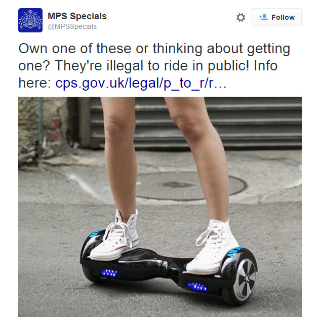 "Self-balancing ""hoverboard"" scooters are illegal on UK roads and pavements"