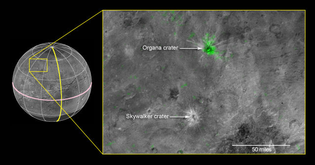 Charon's Organa crater (with ammonia absorption highlighted in green) is shown compared to the Skywalker crater.