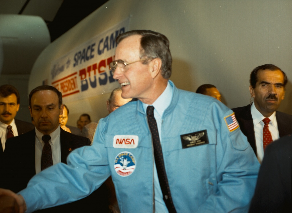 George H.W. Bush visited Marshall Space Flight Center in late 1987 for a campaign event.