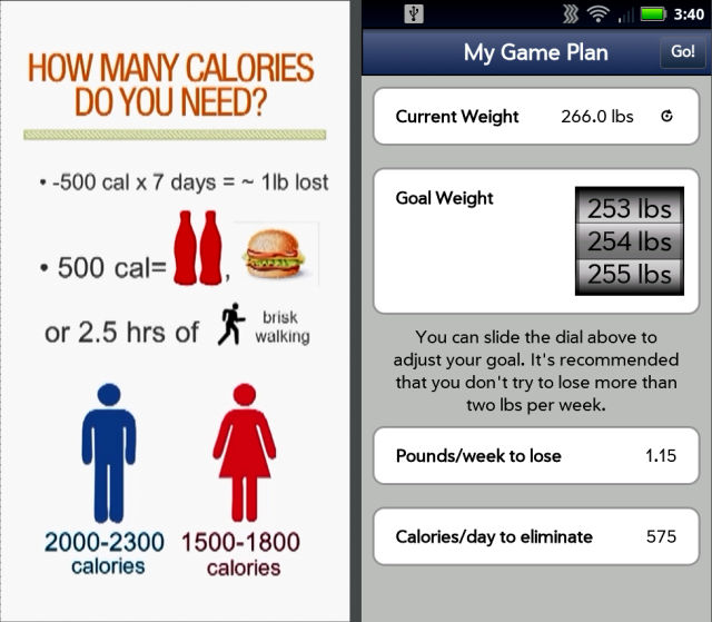 This a photograph of screens from one of the weight loss apps.