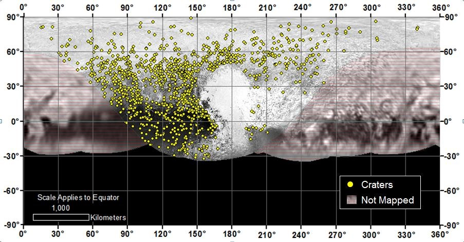 Locations of more than 1,000 craters mapped on Pluto by NASA's New Horizons mission indicate a wide range of surface ages.