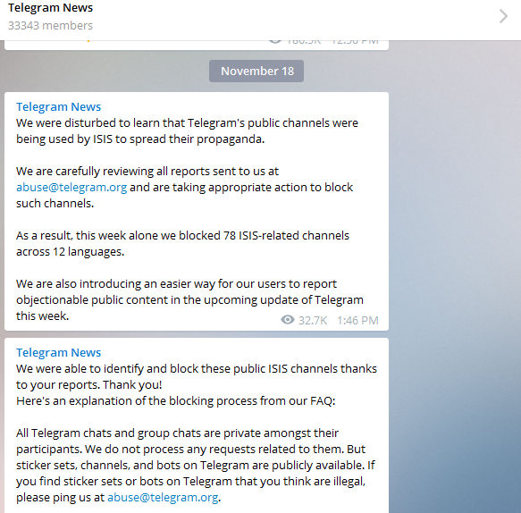Messages sent today to Telegram users explaining what the service had done to block ISIS propaganda channels.