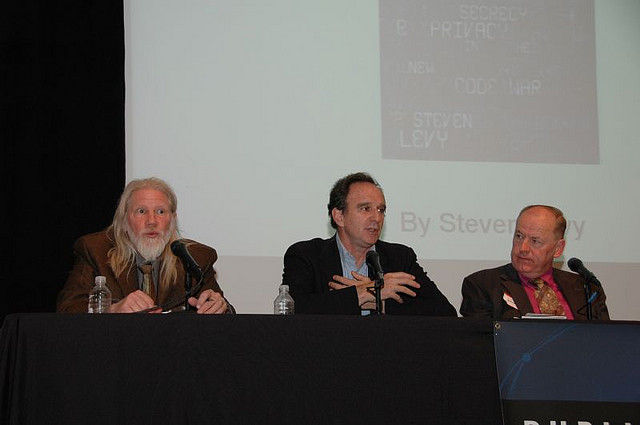 Speaking at a security conference (left to right): Whitfield Diffie, Martin Hellman, Brian Snow.