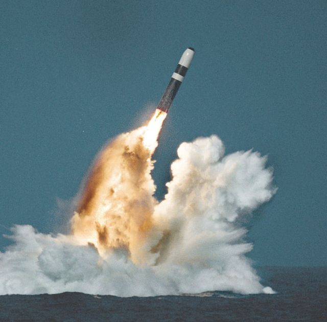 What a Trident II (D5) missile launch looks like during the day.