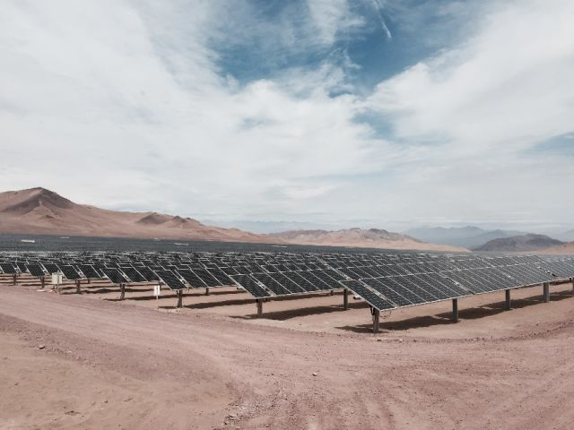 Solar panels in Chile's Atacama desert.
