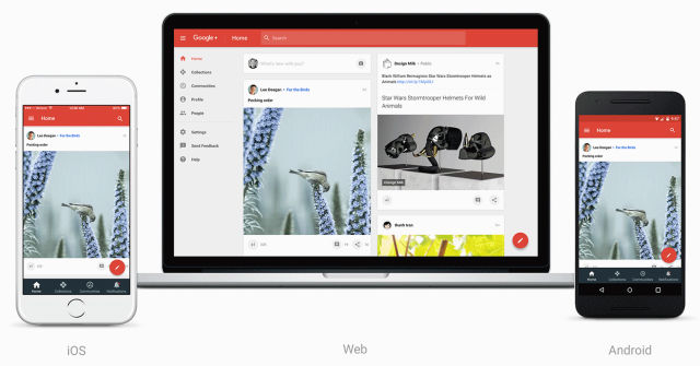 The new Google+ takes the mobile app and stretches it to a desktop interface.