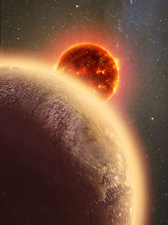 Artist's rendition of Gliese 1132b with its host star, Gliese 1132.