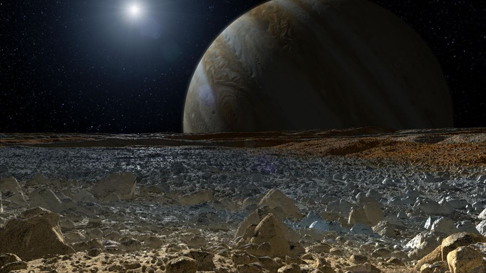 An artist's concept shows what the surface of Jupiter's moon Europa may look like.