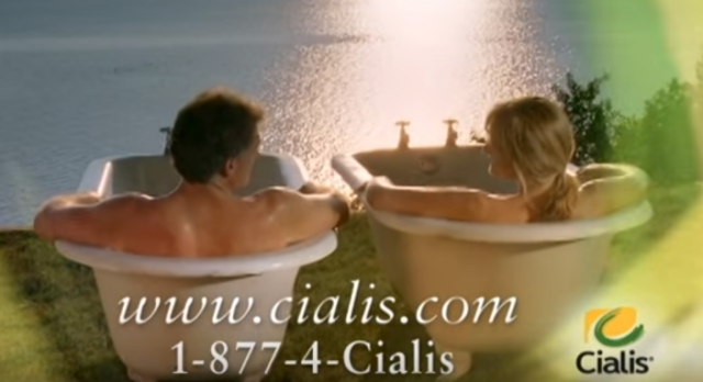 Nothing says erectile dysfunction treatment like a couple in two bathtubs overlooking the ocean.