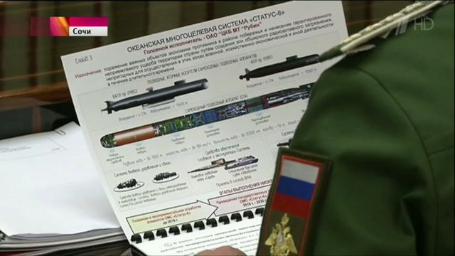 "A summary slide of Russia's planned nuclear ""cruise torpedo,"" which could be used to blow up ports from across the ocean."