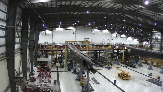 Inside the Stratolaunch hangar in Mojave, California.