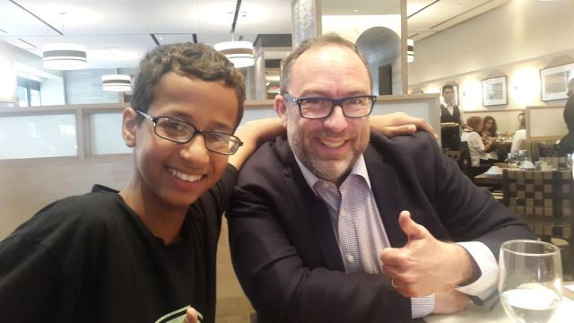 Ahmed Mohamed received support from some of the biggest names in tech, including Wikipedia founder Jimmy Wales, pictured with Mohamed in this photo, published on Twitter in September.