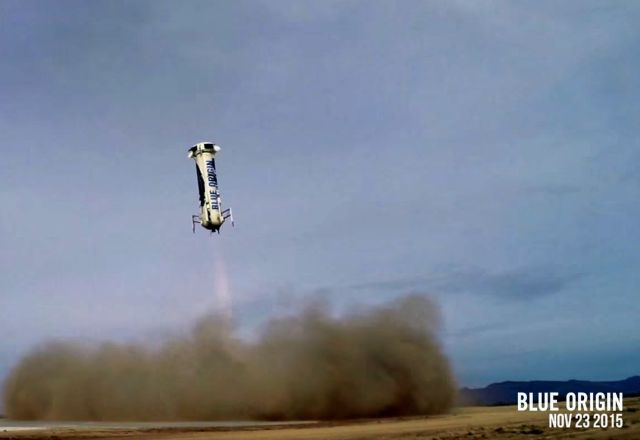 Screenshot of New Shepard space vehicle landing after a suborbital flight on Monday.
