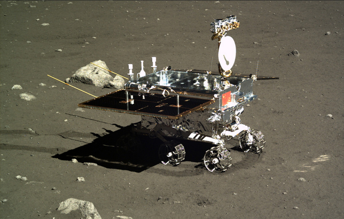 China's Yutu moon rover, as photographed by the Chang'e 3 lander.