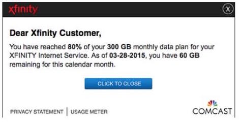 An in-browser notification about Comcast data usage.