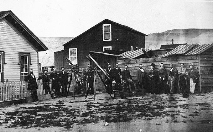 The Draper expedition to Rawlins, Wyoming sought to glimpse Vulcan during an eclipse in June, 1878. The expedition included Simon Newcomb of the Naval Observatory, James Craig Watson and Lewis Swift, all important figures of the day. Thomas Edison, seen here with folded arms, was along to test his new device: the tasimeter, a tool to measure the Solar corona's heat. The expedition claimed to have discovered Vulcan, a claim which soon warranted some skepticism.