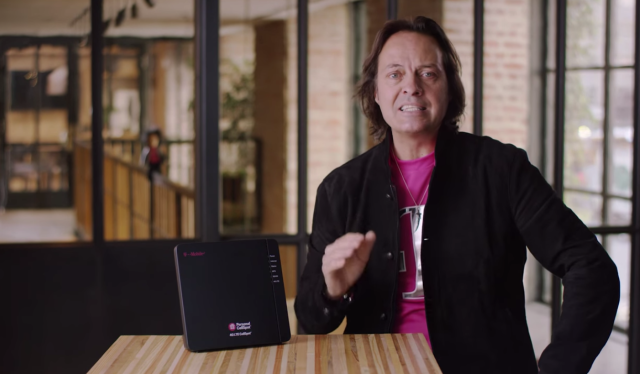 T-Mobile US CEO John Legere with the new 4G LTE CellSpot.
