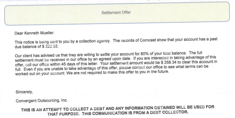 Comcast sent collection agencies after customer who paid all his enlarge letter altavistaventures Choice Image