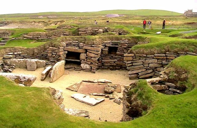 A Neolithic settlement on the Orkneys.