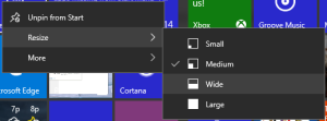 The new context menu for tiles is much more informative.