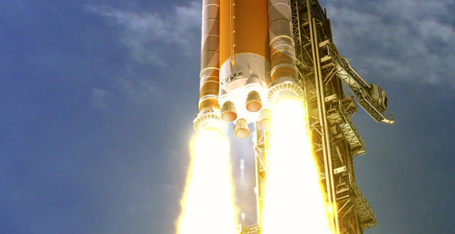 Four reusable RS-25 engines will power NASA's SLS rocket as it ascends into space, and then they'll be discarded.