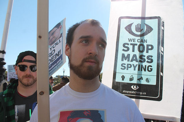 A 2013 anti-NSA demonstration in Washington, DC, following the Edward Snowden revelations.