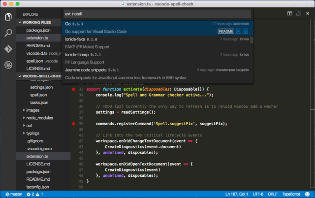 The Visual Studio Code editor, now open source, editing TypeScript on OS X.