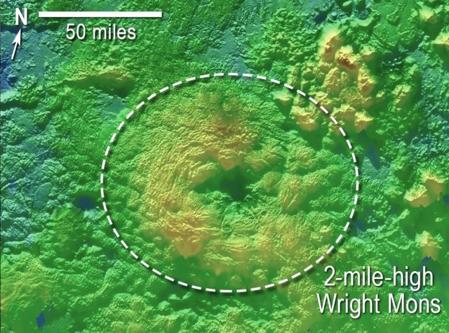 Wright Mons is one of two suspected volcanoes found on Pluto.