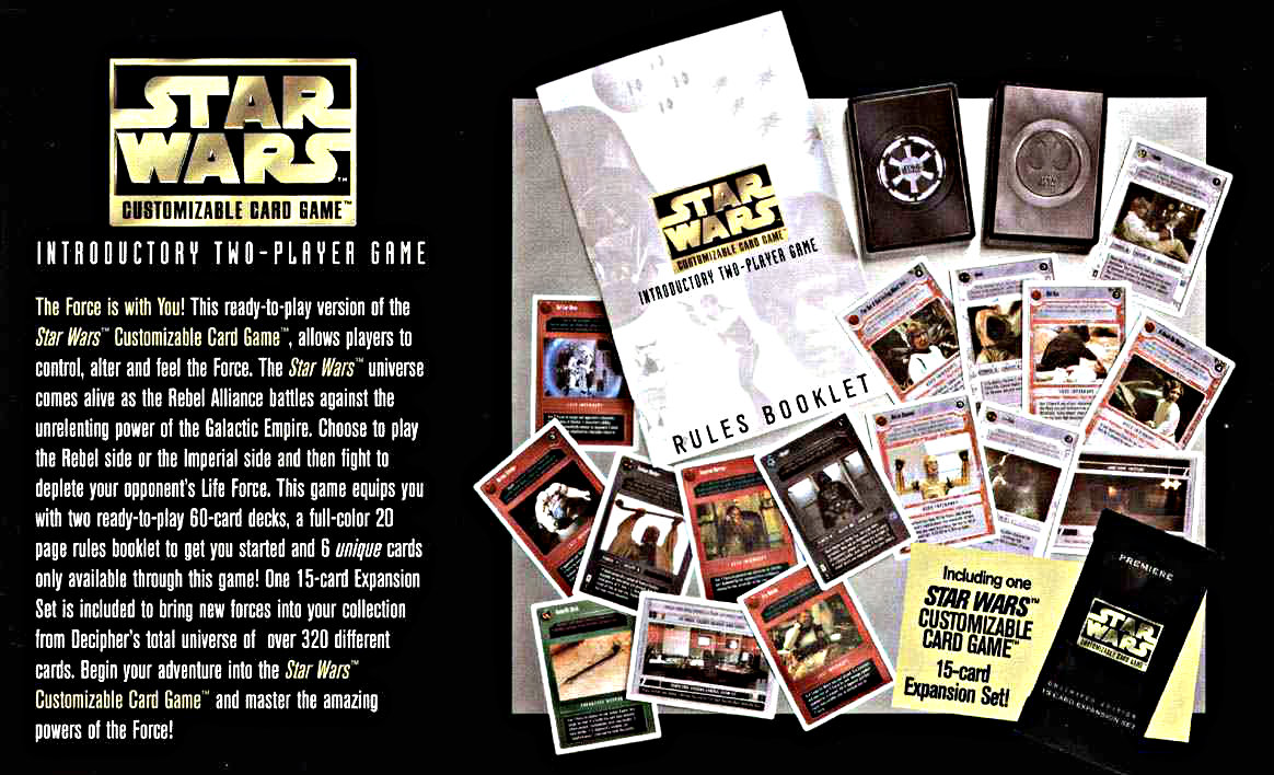 "The introductory version of the game included ""weak"" versions of Luke and Vader. And it was, annoyingly, white border instead of the black border style found in regular packs."