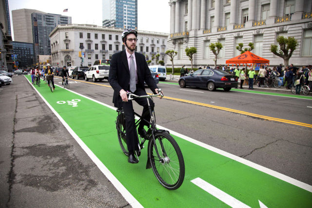 Supervisor Scott Wiener on his bike in 2014.