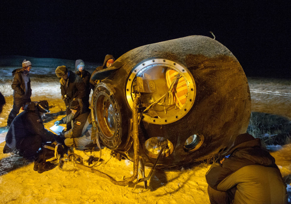 Would you ride back from space in this? The Soyuz TMA-17M spacecraft is seen after it landed on December 11 in Kazakhstan. It was -5 degrees Celsius outside.