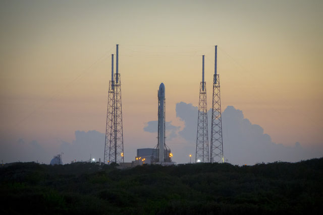 The SpaceX Falcon 9 rocket is readying to launch 11 ORBCOMM satellites into space.