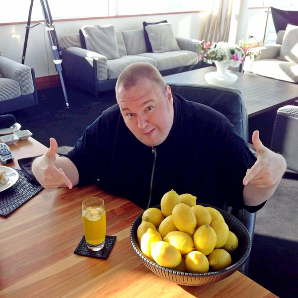 "This week, Kim Dotcom tweeted this photo, with the tagline: ""When life gives you lemons, make lemonade!"""