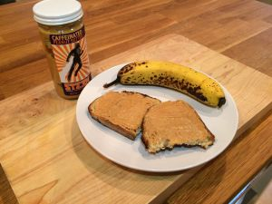 Caffeinated peanut butter on toast, with banana for scale.