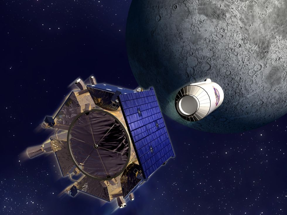 An artist's impression of the Centaur upper stage detaching from the LCROSS spacecraft.