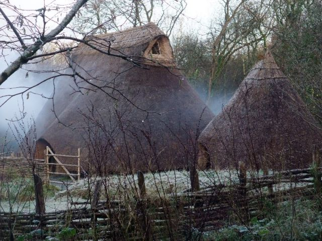 Recreation of an Irish Neolithic village, similar to the one where the Ballynahatty woman lived 5,000 years ago.