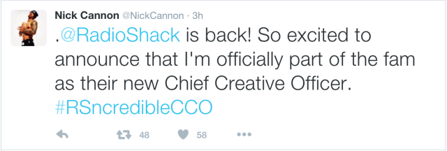 Actor/rapper Nick Cannon is also Radio Shack's new Chief Shirtless Officer, from the look of that Twitter profile photo.