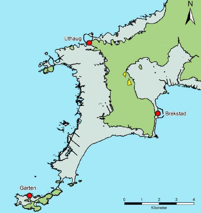 In this map, you can see the excavation site in yellow. The light green areas were all once underwater. Note the Viking village was once on the shores of a sheltered bay.