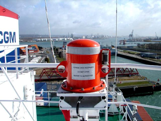 A voyage data recorder recovery capsule aboard a container ship. Some VDRs may be an easy target for hackers--or crew members who don't want what they've done to be recorded.