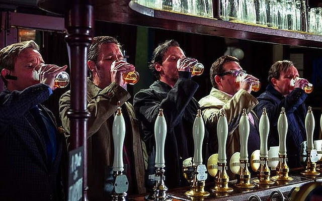 The lads from the film <i>World's End</i> know when to start drinking.