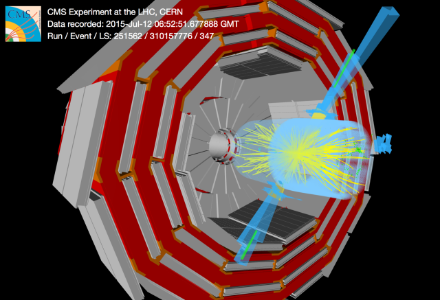 A high-energy collision observed by the CMS detector.