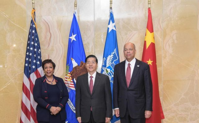Attorney General Loretta Lynch, China's State Councilor and Minister of Public Security Guo Shengkun, and US Secretary of Homeland Security Jeh Johnson pose for a photo at the first US-China cyber coordination meeting in Washington on December 1.