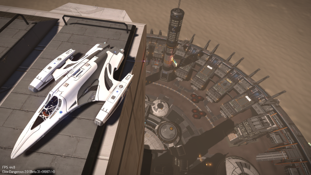 """Jack couldn't believe his luck parking this morning."" Screenshot shows an Imperial Courier that's managed to land atop a planetary outpost building. This is not normally where you'd park your ship."