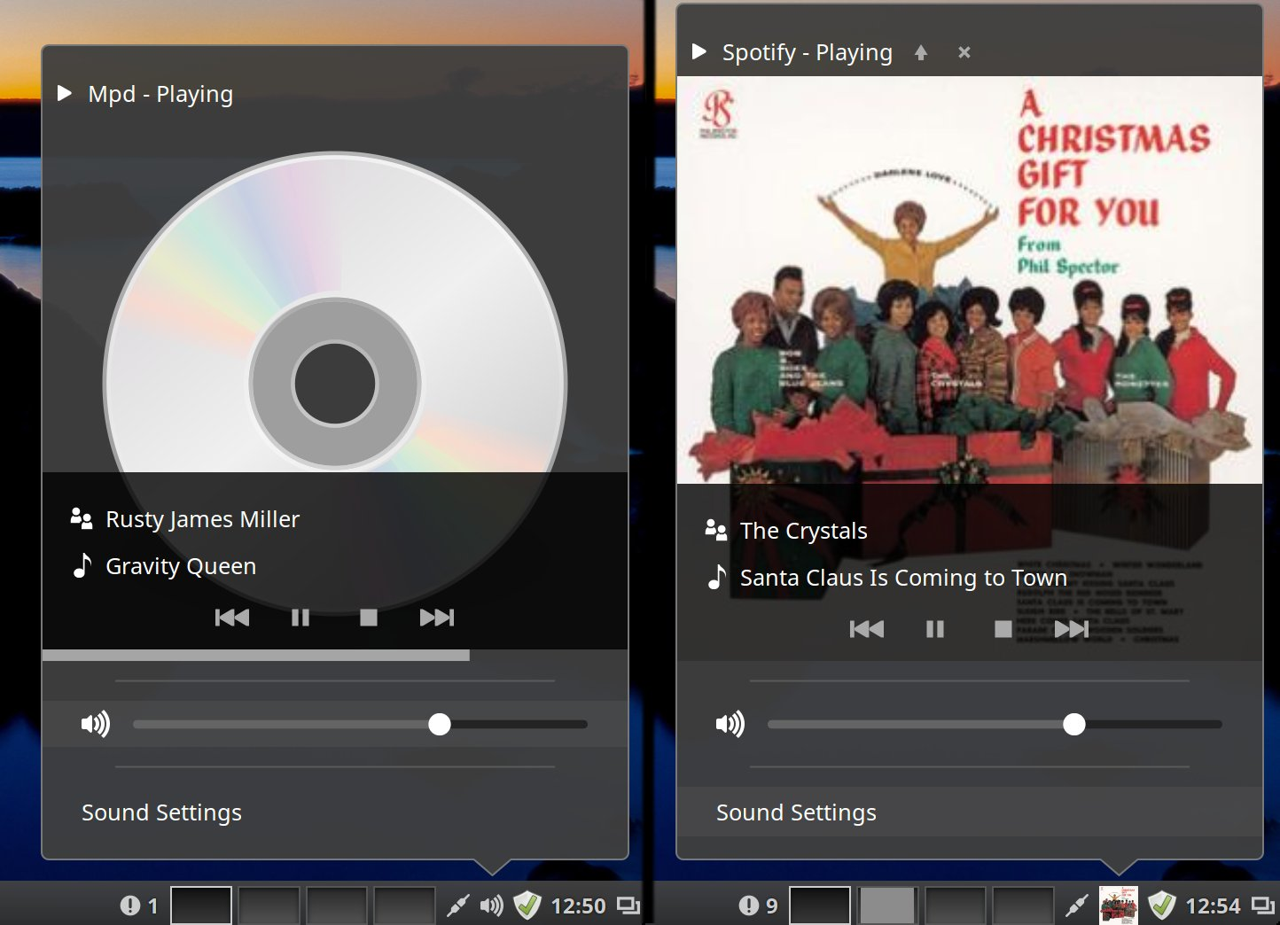 The revamped sound applet in Mint 17.3 handles everything from MPD to Spotify.