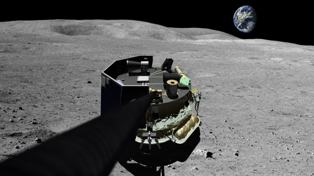 An artist's illustration of the Moon Express MX-1 lunar lander on the surface of the moon.